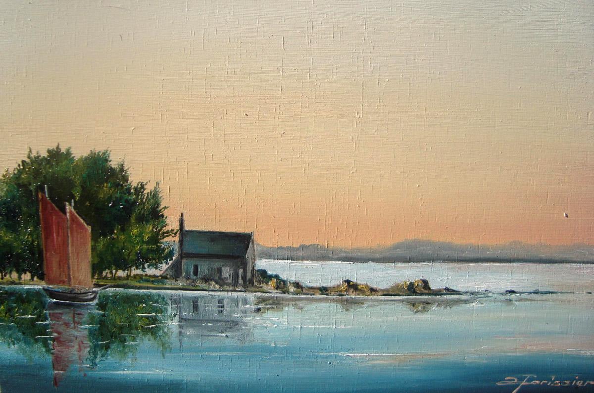 Albert FORISSIER – Peintures - Lever de soleil sur l\'île Boëdic
